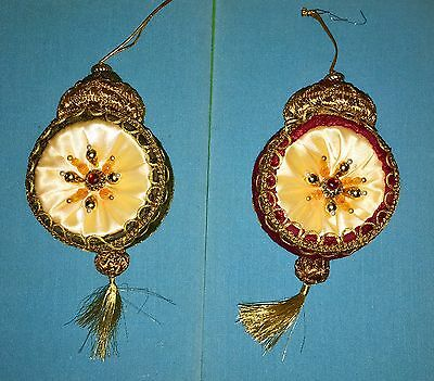 2 Victorian Style Velour, Silk, Gold Trim and Beaded, Tassel Christmas Ornaments