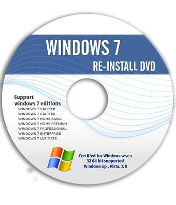 WINDOWS 7 Ultimate Starter Home Professional 32&64 Bit (SP1) ReINSTALL DVD w/HD