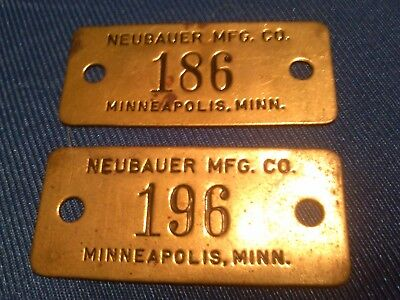 Lot of 2 Vintage Solid Brass Plaque Name Plate NEUBAUER MFG. CO. MINNEAPOLIS MN