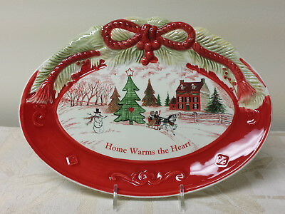 "Fitz And Floyd Ceramic ""Home Warms The Heart"" Sentiment Tray W/ Box"