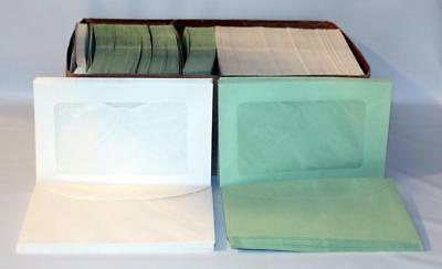 Box of 500 + #2 White & Green Window Envelopes (4-1/2x7) Ideal for Stamp Packets