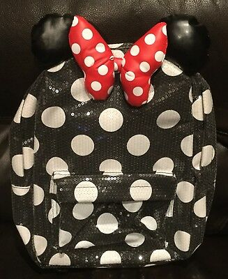 DISNEY PARKS MINNIE Mouse Black White Dots Sequin Backpack With Ears ... c348d8492fc9e