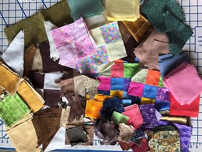 "Mixed lot of 4""-2""  vintage fabric squares, blocks, fabric remnants for quilting"