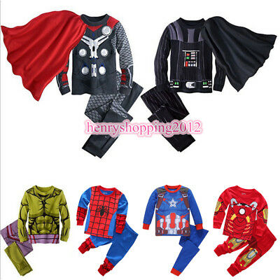 Kids Boys Superhero Costume Pajamas Sets Captain America Spiderman Thor Outfits