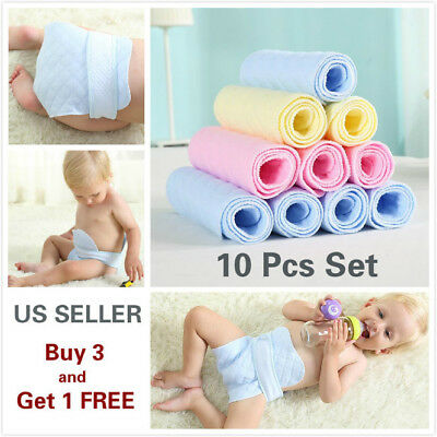 10 Pcs 3 Layer Prefold Reusable Eco-Cotton Cloth Baby Infant Diapers WASHABLE