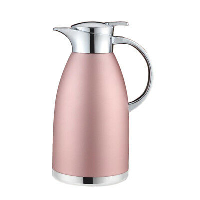 Double Stainless Steel Coffee Pot Vacuum Insulation Jug Kettle Pink1.8L