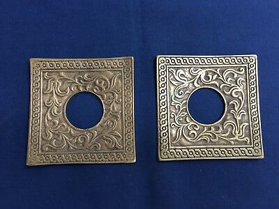 2 Antique Vintage Square Brass Candle Lamp Light Bobeches