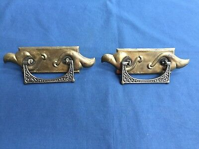 Pair of Antique Vintage Art Nouveau Metal Drawer Pulls Drop Handles