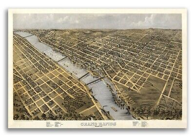 1868 Grand Rapids Michigan Vintage Old Panoramic City Map - 20x30