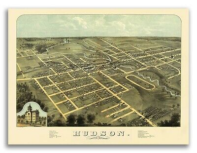 1871 Knoxville TN Vintage Old Panoramic City Map 20x28