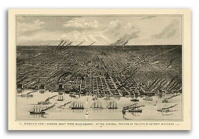 1889 Detroit MI Vintage Old Panoramic City Map - 16x24