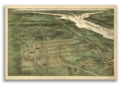 Alexandria VA 1890s Historic Panoramic Town Map - 24x36