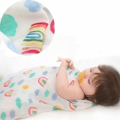 1Pc Infant Baby Kids Muslin Bamboo Swaddle Soft Sleeping Blanket Wrap Bath Towel