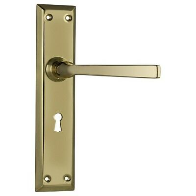 Menton Lever Lock Door Handle - Polished Brass - 225x50mm - Pair - DFTH0676