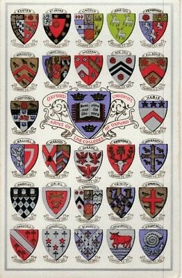 Carte postale ancienne CPA—Ecussons—Oxford University— Arms of the Colleges