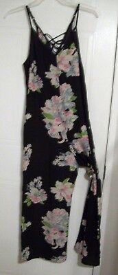 Xhilaration Woman's Charcoal with Floral Print Sleeveless Jumpsuit - Size: S