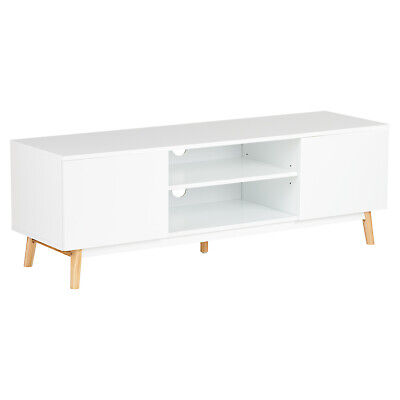 Hartleys White Modern Large TV Stand Retro Entertainment Unit Sideboard Cupboard