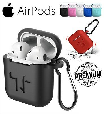 COVER CUSTODIA CASE in GOMMA SILICONE OPACA + GANCIO + LACCIO per APPLE AIRPODS