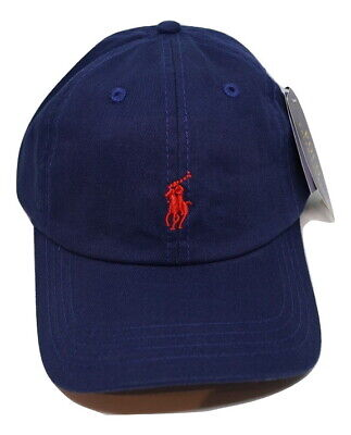 Ralph Lauren Polo Baseball Cap Blue with Red Small Pony Free Postage ON SALE