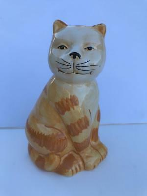 """6"""" Striped Orange Tabby Kitty Cat Ceramic Coin Piggy Bank with Stopper EUC"""
