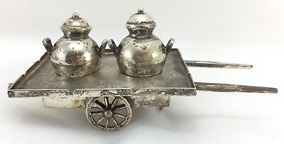 Antique Miniature Ornate Egyptian/Cairo 900 Silver Wheeled Cart w Bean Pots