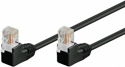 1m Black RJ45 CAT 5e Ethernet Cable with 90 Degree Right Angled Connectors