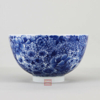 Hand painted flowers Chinese Jingdezhen Blue and White Porcelain Tea Cup 110ml