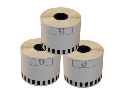 3 REFILL ROLLS DK22205 BROTHER COMPATIBLE CONTINUOUS LABELS 62mmx30.48m DK 22205