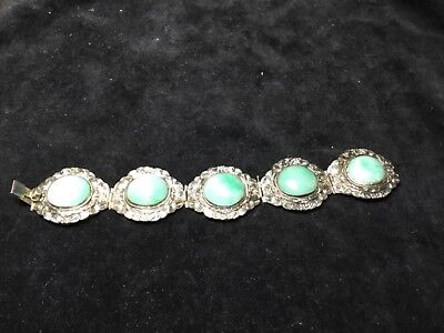 Antique Chinese silver & translucent green jade bracelet 7""