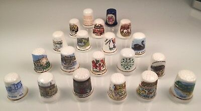 20 Vintage China Thimbles Mostly England & Ireland Themed from Watergate Florist