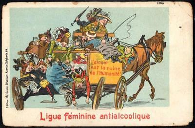 French Temperance Prohibition PPC - Alcohol Has Ruined Humanity