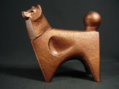 Cast Iron Akita Dog Statue Figurine Copper Patina Cubist Style Paperweight