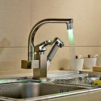 Brushed Nickel LED Kitchen Faucet Sink Pull Out Sprayer Swivel Spout Mixer Tap