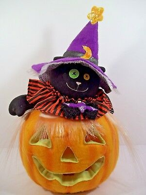 Animated Fiber Optic Pumpkin Jack-O-Lantern with Black Cat in Witches Hat