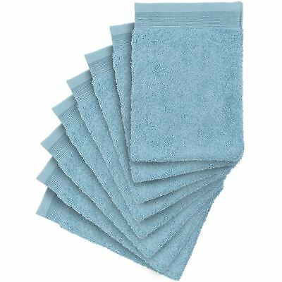 8 x Premium Quality Wash Mitts Absorbent Flannel Face Mitt, Petrol Blue