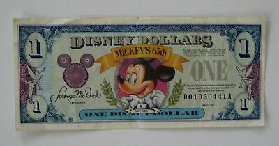 1993 Disney Dollar from Mickey's 65th Birthday, NICE Graphics! One Year Issue