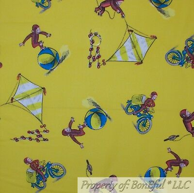 "CURIOUS GEORGE FLYING KITES PLAY QUILT FABRIC STUDIOS MONKEY SCRAP  6/"" REMNANT"