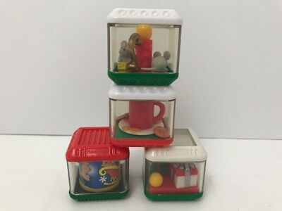 Fisher Price Christmas RED Green White Peek a Boo Blocks Rare Lot of 4