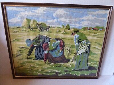 Framed Tapestry Cross Stitch Rural Landscape 3 Farm Women Harvest Scene 56 x 45