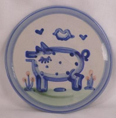 M A Hadley Bread Plate Pig Country Scenes Stoneware & Butter Vintage