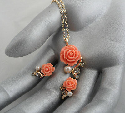 NOS Faux Coral Jewelry Set Rose Necklace and Earrings w Faux Pearls Rhinestones