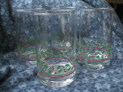 "Vintage Arby's Christmas Holly Berries Four  5"" Glasses 1983"