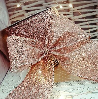 Rose Gold Ribbon Glitter Wired Web Effect Christmas, Wreath Tree Sparkly Pink