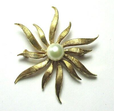 "14K Textured Yellow Gold Sunburst Pin w Real Pearl 7.3 grams 1 1/2""  lot 29x7"