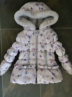 b766bfe35cc8 BABY GIRL WINTER Butterfly Coat In Good Condition Size 18-24 Months ...