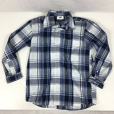 Old Navy Boys Button Down Shirt Blue White Plaid Collared Long Sleeve Size M 8