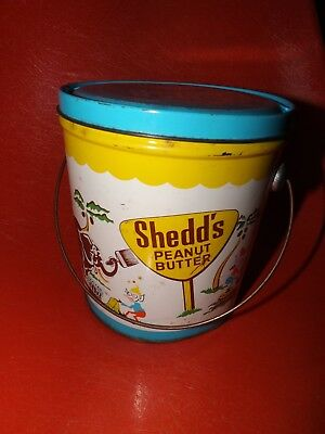 VINTAGE Shedd's Peanut Butter 5 LBS Tin Pail Can w/ Lid Graphic Animals & Elves