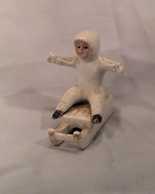 Antique Snow Baby Doll Snowbaby On Sled  Bique Porcelain