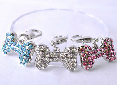 1Pcs Pet Puppy Tag Bone Shape Rhinestone Pendant Dog Cat Collar Charm Jewelry