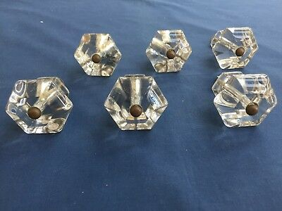 6 Vintage Hexagon Clear Glass Furniture Drawer Pull Handles Reclaimed Salvage